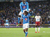 BOGOTA -COLOMBIA, 22-02-2017. Harold Mosquera player of Millonarios celebrates his goal agaisnt Tolima.Action game beteween  Millonarios  and Tolima  during match for the date 5 of the Aguila League I 2017 played at Nemesio Camacho El Campin stadium . Photo:VizzorImage / Felipe Caicedo  / Staff