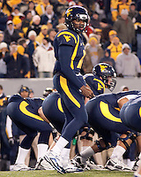 WVU quarterback Jarrett Brown. The West Virginia Mountaineers defeated the Pittsburgh  Panthers 19-16 on November27, 2009 at Mountaineer Field at Milan Puskar Stadium, Morgantown, West Virginia.