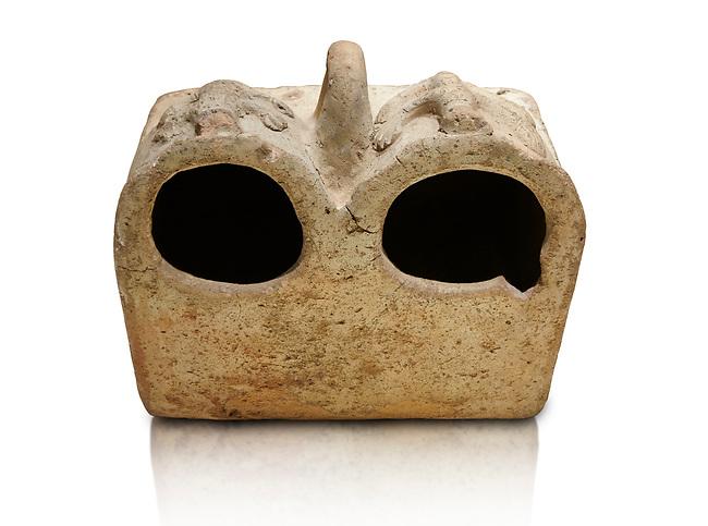 Bronze Age Anatolian terra cotta double boxes for storage - 19th to 17th century BC - Kültepe Kanesh - Museum of Anatolian Civilisations, Ankara, Turkey. Against a white background.