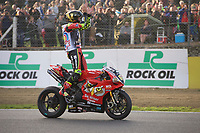 Shane Byrne of Be Wiser Ducati Racing Team wins the final showdown race of the MCE British Superbikes in Association with Pirelli and the championship after Leon Haslam of JG Speedfit Kawasaki crashes out in round 12 2017 - BRANDS HATCH (GP) at Brands Hatch, Longfield, England on 15 October 2017. Photo by Alan  Stanford / PRiME Media Images.