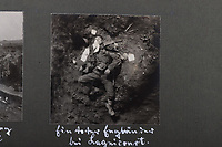 BNPS.co.uk (01202 558833)<br /> Pic: C&TAuctions/BNPS<br /> <br /> Pictured: One chilling image shows a dead British Tommy in the mud, one of millions of men to perish in battle between 1914 and 1918.<br /> <br /> Fascinating previously unseen World War One photos showing the conflict from the German perspective have come to light 103 years on.<br /> <br /> Major Hans Rudloff, a distinguished artillery officer, took hundreds of images of some of the major Western Front battles.<br /> <br /> There are scenes of destruction on the Verdun and at Cambrai, as well as snapshots of captured British soldiers on the Somme in the early days of the German Spring Offensive in March 1918.