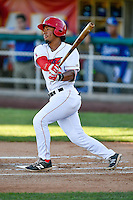 Jahmai Jones (15) of the Orem Owlz at bat against the Ogden Raptors in Pioneer League action at Home of the Owlz on June 25, 2016 in Orem, Utah. Orem defeated Ogden 4-1.  (Stephen Smith/Four Seam Images)
