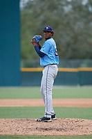 Tampa Bay Rays relief pitcher Angel Felipe (98) gets ready to deliver a pitch during an Instructional League game against the Pittsburgh Pirates on October 3, 2017 at Pirate City in Bradenton, Florida.  (Mike Janes/Four Seam Images)