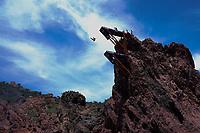 12th June 2021, Saint-Raphaël, Provence-Alpes-Côte d'Azur, France; Red Bull Cliff Diving competition; The site of Red Bull Cliff Diving au Dramont Saint Raphael