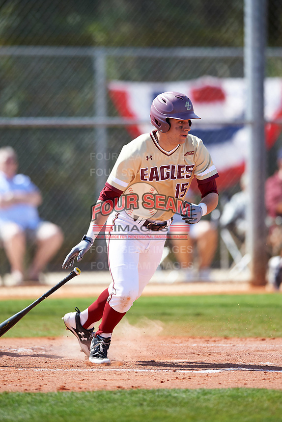 Boston College Eagles third baseman Anthony Maselli (15) at bat during a game against the Central Michigan Chippewas on March 3, 2017 at North Charlotte Regional Park in Port Charlotte, Florida.  Boston College defeated Central Michigan 5-4.  (Mike Janes/Four Seam Images)
