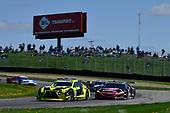 #14 AIM Vasser Sullivan Lexus RC F GT3, GTD: Richard Heistand, Jack Hawksworth pass for lead, #86 Meyer Shank Racing w/ Curb-Agajanian Acura NSX GT3, GTD: Mario Farnbacher, Trent Hindman