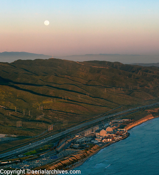 aerial photograph of the San Onofre Nuclear Generating Station, San Diego County, California