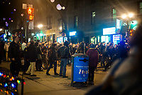 April 7, 2014 - Police surround angry protester on the Quebec election night<br /> <br /> There was a small march of Parti Quebecois supporters in downtown Montreal, when it was offically announced on TV that the PQ had lost the election to the Liberal Party of Quebec led by Philippe Couillard.<br /> <br /> Photo : Philippe Nguyen - Agence Quebec Presse