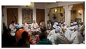 Indian Classical Maestros, Pt. Rajan and Sajan Mishra perform music to a small audience at The Ganges View Hotel, Varanasi in Uttar Pradesh, India. Photograph: Sanjit Das/Panos