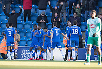 colchester celebrate their third goal in front of the home fans during Colchester United vs Plymouth Argyle, Sky Bet EFL League 2 Football at the JobServe Community Stadium on 8th February 2020