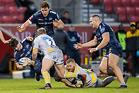27th December 2020; AJ Bell Stadium, Salford, Lancashire, England; English Premiership Rugby, Sale Sharks versus Wasps;Tom Curry of Sale Sharks is tackled by Tom Cruse of Wasps