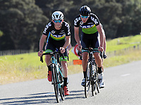 Sam Cook and Archie Martin during the Under-19 Men's road race, Carterton-Martinborough-Gladstone circuit. Day three of the 2018 NZ Age Group Road Cycling Championships in Carterton, New Zealand on Sunday, 22 April 2018. Photo: Dave Lintott / lintottphoto.co.nz
