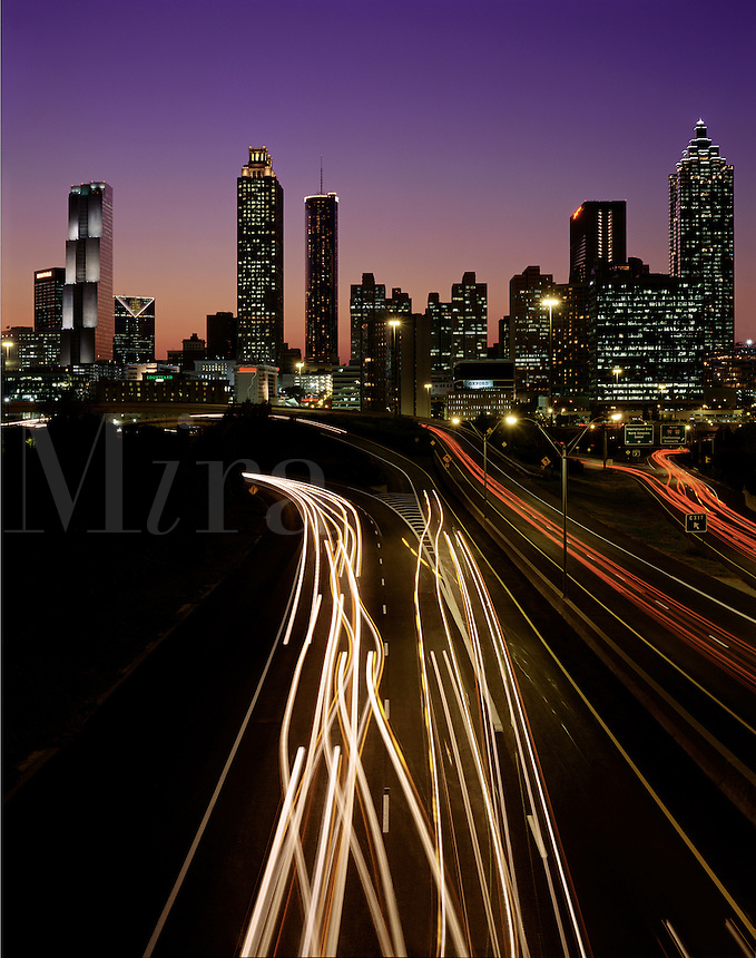 Atlanta, GA skyline at dusk, from Jackson Street Bridge. Atlanta, Georgia.