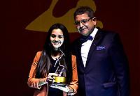 BOGOTÁ - COLOMBIA, 11-12-2018: Diana Vargas, en representación del equipo Atlético Huila, que se coronó campeón de la Copa Libertadores de América, en la rama femenina, durante ceremonia de premiación del Deportista Altius del Año 2018, por el Comité Olímpico Colombiano (COC), en ceremonia realizada en el Hotel Grand Hyatt en la ciudad de Bogotá. / Diana Vargas, on behalf of the Atlético Huila team, which was crowned champion of the Copa Libertadores de América, in the women's branch, during the award ceremony of the Athlete Altius of the Year 2018, by the Colombian Olympic Committee (COC), in a ceremony held in the Grand Hyatt Hotel in the city of Bogota. Photo: VizzorImage / Luis Ramírez / Cont.