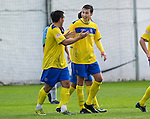Drogheda United St Johnstone...07.07.11  Pre-season Friendly.Carl Finnigan celebrates his goal with Sean Higgins.see story by Gordon Bannerman Tel: 07729 865788.Picture by Graeme Hart..Copyright Perthshire Picture Agency.Tel: 01738 623350  Mobile: 07990 594431