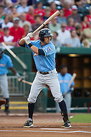 Brett Eibner (24) of the Northwest Arkansas Naturals stands at bat during a game against the Springfield Cardinals at Hammons Field on August 23, 2013 in Springfield, Missouri. (David Welker/Four Seam Images)