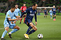 22nd May 2021, Melbourne, Australia;  Nuno Reis of Melbourne City is held off by Marco Urena of the Central Coast Mariners during the Hyundai A-League football match between Melbourne City FC and Central Coast Mariners at AAMI Park in Melbourne, Australia.