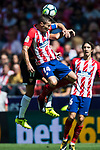 Gabriel Fernandez Arenas, Gabi (r), of Atletico de Madrid fights for the ball with Pablo Sarabia Garcia of Sevilla FC in action during the La Liga 2017-18 match between Atletico de Madrid and Sevilla FC at the Wanda Metropolitano on 23 September 2017 in Madrid, Spain. Photo by Diego Gonzalez / Power Sport Images