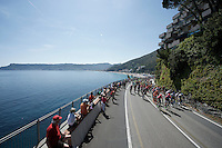 the peloton rides along the Mediterranean for most of the stage<br /> <br /> 2015 Giro<br /> stage 2: Albenga - Genova (177km)