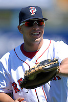 Catcher Luis Exposito #41 of the Pawtucket Red Sox prior to a game versus the Toledo Mud Hens on April 30, 2011 at McCoy Stadium in Pawtucket, Rhode Island. Photo by Ken Babbitt /Four Seam Images