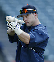 Shane Halter of the Detroit Tigers before a 2002 MLB season game against the Los Angeles Angels at Angel Stadium, in Anaheim, California. (Larry Goren/Four Seam Images)