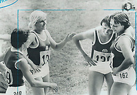 A relieved Baerbel Eckert of East Germany; second from right; smiles after being convinced by opponents in 200-metre final that she's really won it in a tight three-way finish. Chatting with her are; left to right; Tatyana prorochenko of the Soviet Union and East German teammates Carla Bodendorf and Renate Stecher. Latter won bronze medal yesterday.