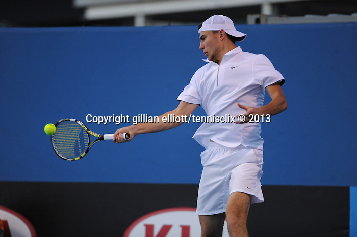 Jerzy Janowicz (POL) wins his opening match at the Australian Open at Melbourne Park, in Melbourne, Australia on January 14, 2013.
