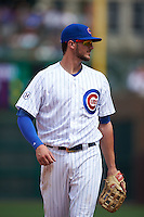 Chicago Cubs third baseman Kris Bryant (17) during a game against the Milwaukee Brewers on August 13, 2015 at Wrigley Field in Chicago, Illinois.  Chicago defeated Milwaukee 9-2.  (Mike Janes/Four Seam Images)