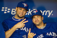 Toronto Blue Jays pitcher Luis Perez #47 and infielder Omar Vizquel #17 before an American League game against the Boston Red Sox at Rogers Centre on June 3, 2012 in Toronto, Ontario.  (Mike Janes/Four Seam Images)