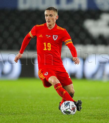 12th November 2020; Liberty Stadium, Swansea, Glamorgan, Wales; International Football Friendly; Wales versus United States of America; Matthew Smith of Wales controls the ball