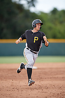 Pittsburgh Pirates Nick Valaika (12) runs the bases during an Instructional League intrasquad black and gold game on October 3, 2017 at Pirate City in Bradenton, Florida.  (Mike Janes/Four Seam Images)
