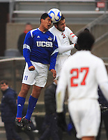 Alfonso Motagalvan (#11 UCSB) and Xavier Balc (#3 OSU) both connect with the ball during their 3rd round game of the 2007 NCAA Collage Cup. OSU won the day with a 4-3 upset victory over the defending national champions UCSB.