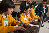 Pupils from William Davis primary School, Tower Hamlets at a Code Club event, Level39, Canary Wharf.