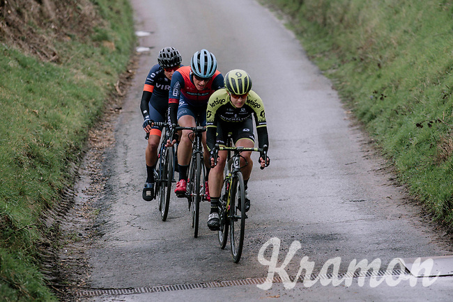 Grace Brown (AUS/Mitchelton-Scott) & 2 compangons on the attack<br /> <br /> Omloop van het Hageland 2019<br /> 133km from Tienen to Tielt - Winge (BEL)<br /> <br /> ©JoJo Harper for Kramon