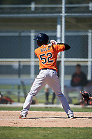 Baltimore Orioles Carlos Baez (52) at bat during a minor league Spring Training game against the Minnesota Twins on March 17, 2017 at the Buck O'Neil Baseball Complex in Sarasota, Florida.  (Mike Janes/Four Seam Images)
