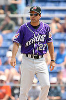 July 7th 2008:  Manager Mike Sarbaugh of the Akron Aeros, Class-AA affiliate of the Cleveland Indians, during a game at NYSEG Stadium in Binghamton, NY.  Photo by:  Mike Janes/Four Seam Images