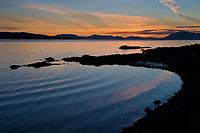 Sunset along the shores of the Tongass Narrows near Ketchikan, southeast, Alaska.