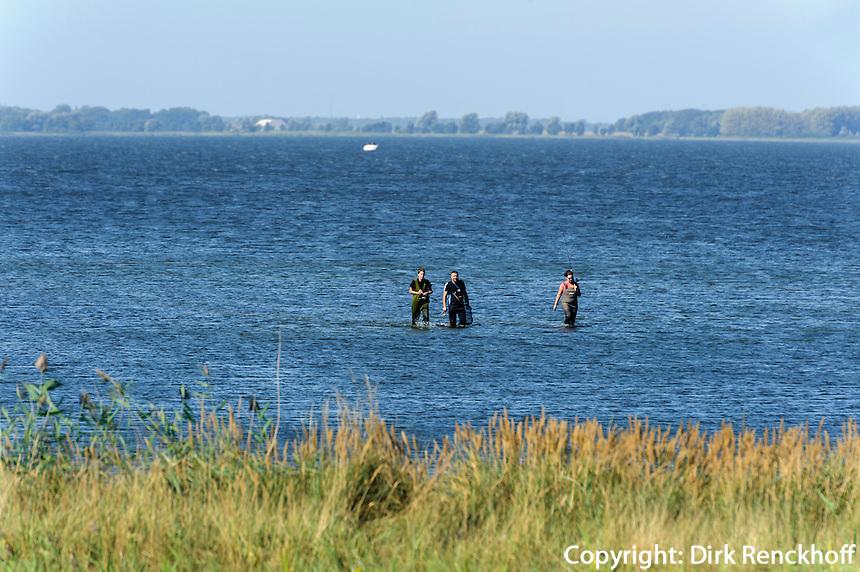 Angler im großen Jasmunder Bodden auf der Insel Rügen, Mecklenburg-Vorpommern, Deutschland