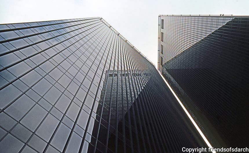 Philip Johnson: Pennzoil Center. Looking up Louisiana St. side (west side).  Photo '80.