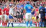 Referee George Clancy shows Leigh Halfpenny the yellow card..2012 RBS 6 Nations.Wales v Italy.Millennium Stadium..10.03.12.Credit: STEVE POPE-Sportingwales