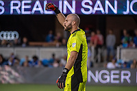 SAN JOSE, CA - JULY 24: Marko Maric #1 of the Houston Dynamo directs his teammates during a game between San Jose Earthquakes and Houston Dynamo at PayPal Park on July 24, 2021 in San Jose, California.
