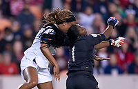 HOUSTON, TX - JANUARY 31: Jess McDonald #14 of the United States collides with Yenith Bailey #1 of Panama during a game between Panama and USWNT at BBVA Stadium on January 31, 2020 in Houston, Texas.