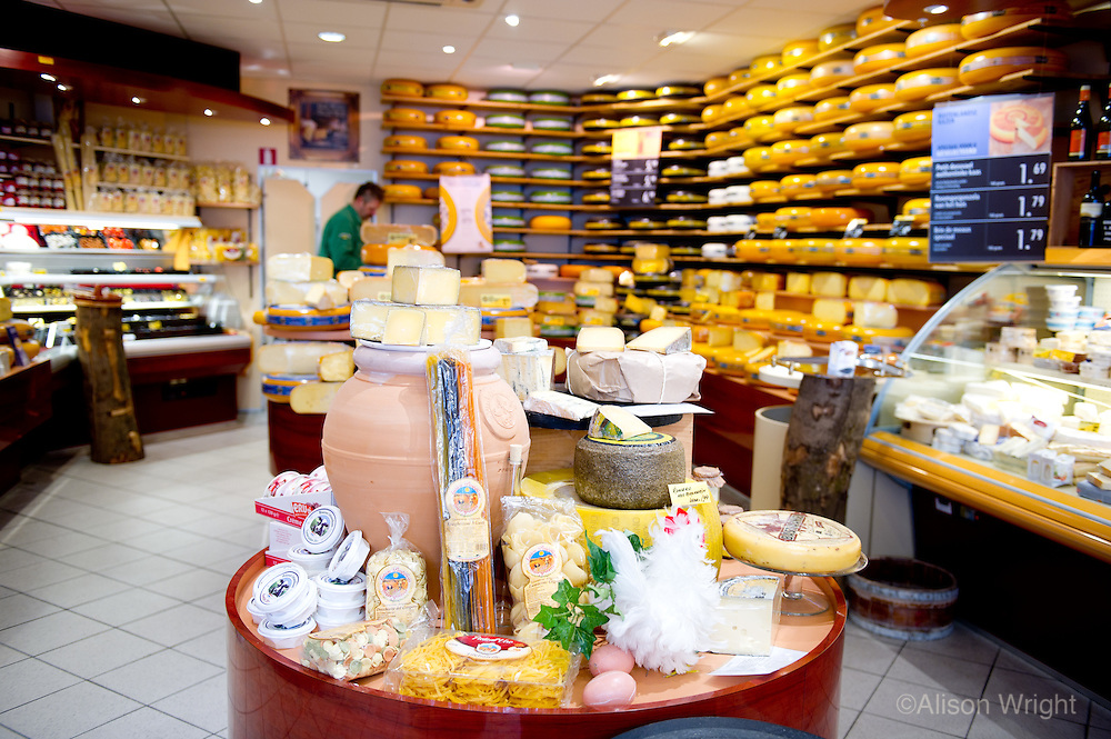 The Vantage Travel Cruise, MS Discovery II along the canals of the Netherlands. Cheese shop in town of Schoonhoven.