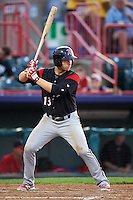 Richmond Flying Squirrels left fielder Austin Slater (13) during a game against the Erie SeaWolves on May 27, 2016 at Jerry Uht Park in Erie, Pennsylvania.  Richmond defeated Erie 7-6.  (Mike Janes/Four Seam Images)