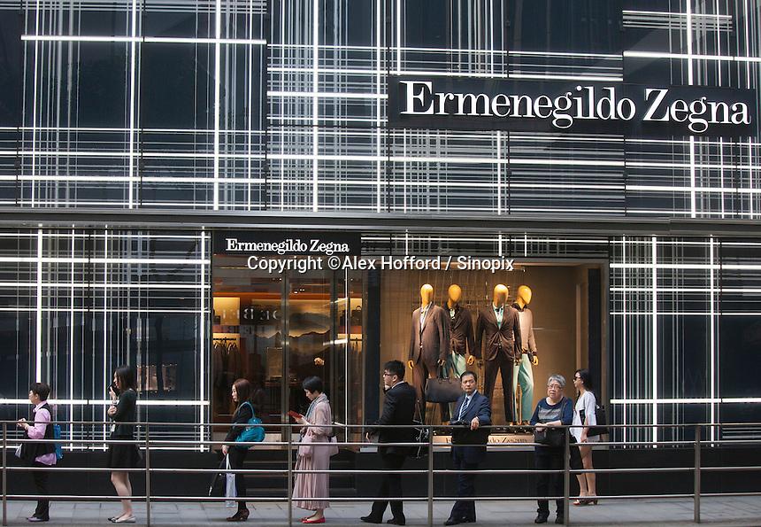 An exterior shot of the Ermenegildo Zegna store, Central district, Hong Kong, China, 28 April 2014.