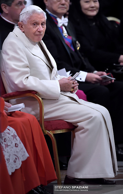 Pope Benedict XVI Emeritus, during a consistory for the creation of new Cardinals at St. Peter's Basilica in Vatican.February 14, 2015