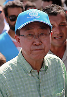 Pictured: Ban Ki-Moon at Kara Tepe in Lesbos, Greece. Saturday 18 June 2016<br /> Re: The United Nations secretary-general Ban Ki-moon has visited refugee camps on Lesbos island where 3,400 refugees and other migrants live.