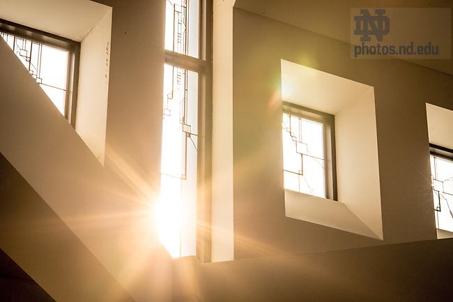 Jan. 19, 2016; Hesburgh Center great hall windows (Photo by Matt Cashore/University of Notre Dame)