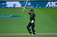 Australia's Aaron Finch celebrates his 50 runs during the third international men's T20 cricket match between the New Zealand Black Caps and Australia at Sky Stadium in Wellington, New Zealand on Wednesday, 3 March 2021. Photo: Dave Lintott / lintottphoto.co.nz