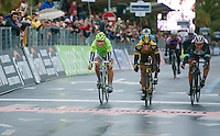 Milan - San Remo 2013: the iced edition.winner: Gerald Ciolek (DEU), 2nd: Peter Sagan (SVK), 3rd: Fabian Cancellara (CHE)